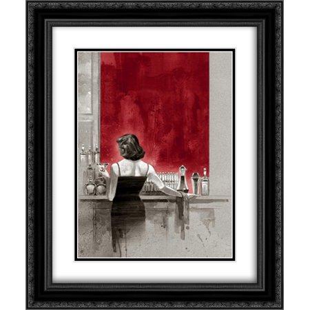 Evening Lounge Red Study 2x Matted 20x24 Black Ornate Framed Art Print by Lynch, Brent Study Framed Print Set