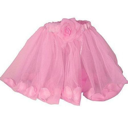 Girls Pink Rose Fairy Tutu with Petals Pink Ballet Tutu by Lil - Lil Princess