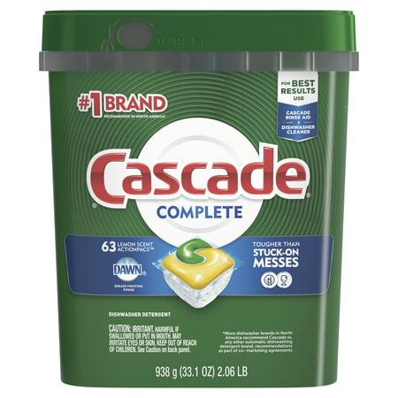Cascade Complete ActionPacs Dishwasher Detergent, Lemon Scent, 63 count ()