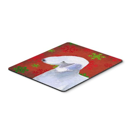Bedlington Terrier Red Green Snowflakes Christmas Mouse Pad, Hot Pad or Trivet