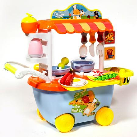 Ihubdeal Mini Fast Food Cart Kitchen Play Set Pretend