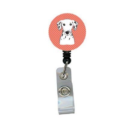 Red Checkered Dalmatian Retractable Badge Reel