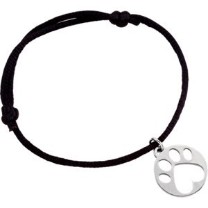 Jewels By Lux Sterling Silver Black Satin Cord Adjustable Bracelet with Paw Charm