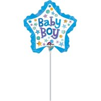 Anagram 81567 14 in. Baby Boys Star with Ruffle-Flat Foil Balloon