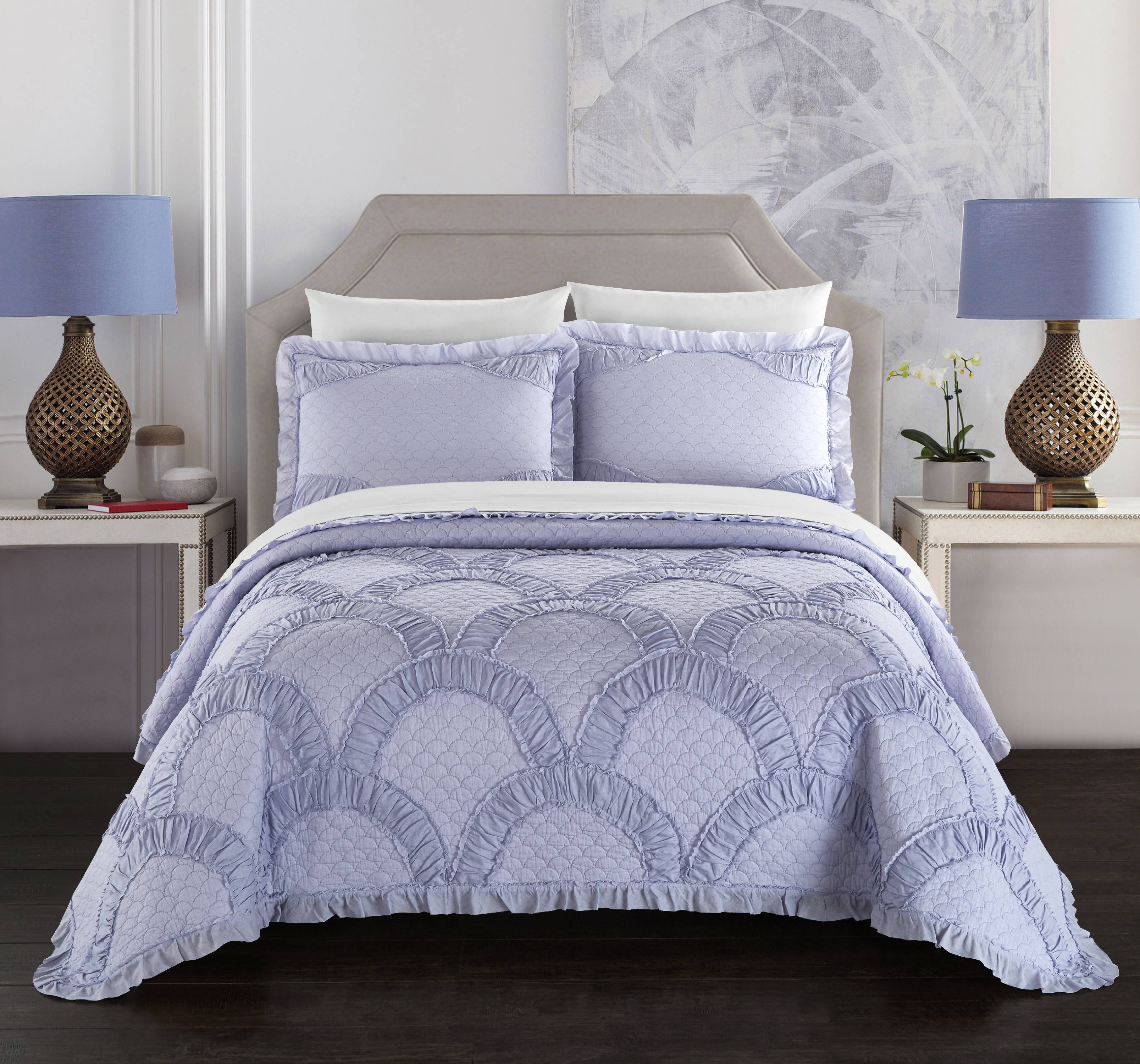 Chic Home Lesley 1 Piece Quilt Coverlet 100% Cotton Fish Scale Pattern Stitching
