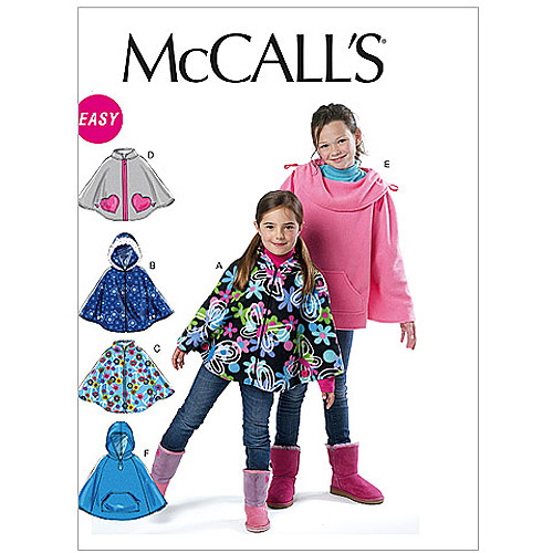 McCall's Pattern Children's and Girls' Ponchos, CX (XS, S)