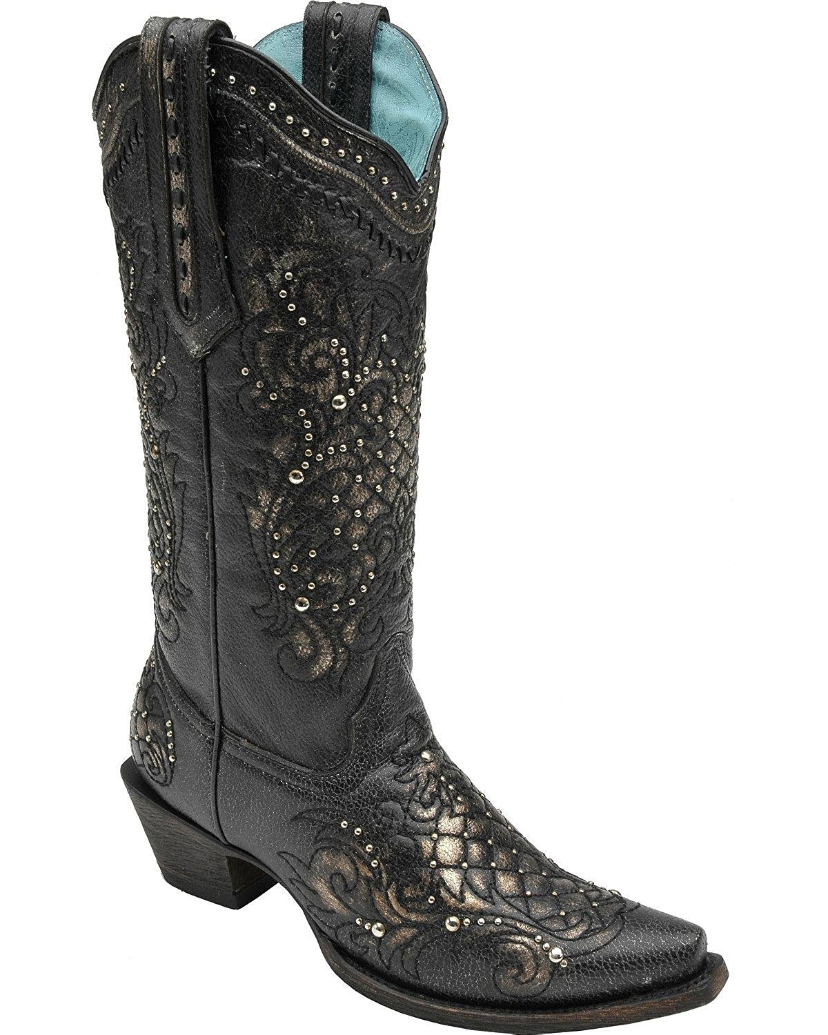 CORRAL Women's Metallic Black Studded Lace Snip Toe Cowgirl Boots C2887 (5 B(M) US)
