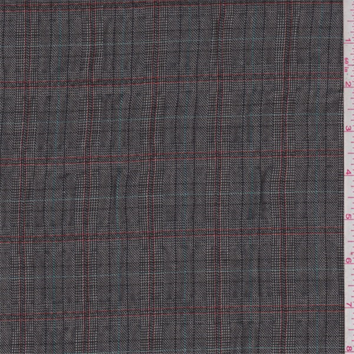 Black/Red Plaid Polyester Suiting, Fabric By the Yard