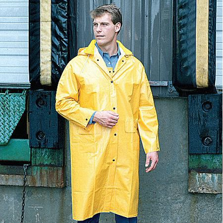 Mcr Safety Raincoat Detachable Hood, Yellow, 2XL 2XL Yellow  PVC 200CX2 Pvc Rain Jacket