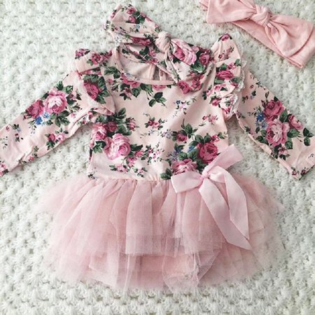 Casual Newborn Infant Baby Girls Outfit Floral Lace Romper Headband Set Clothes - Dressing Up Outfits For Toddlers