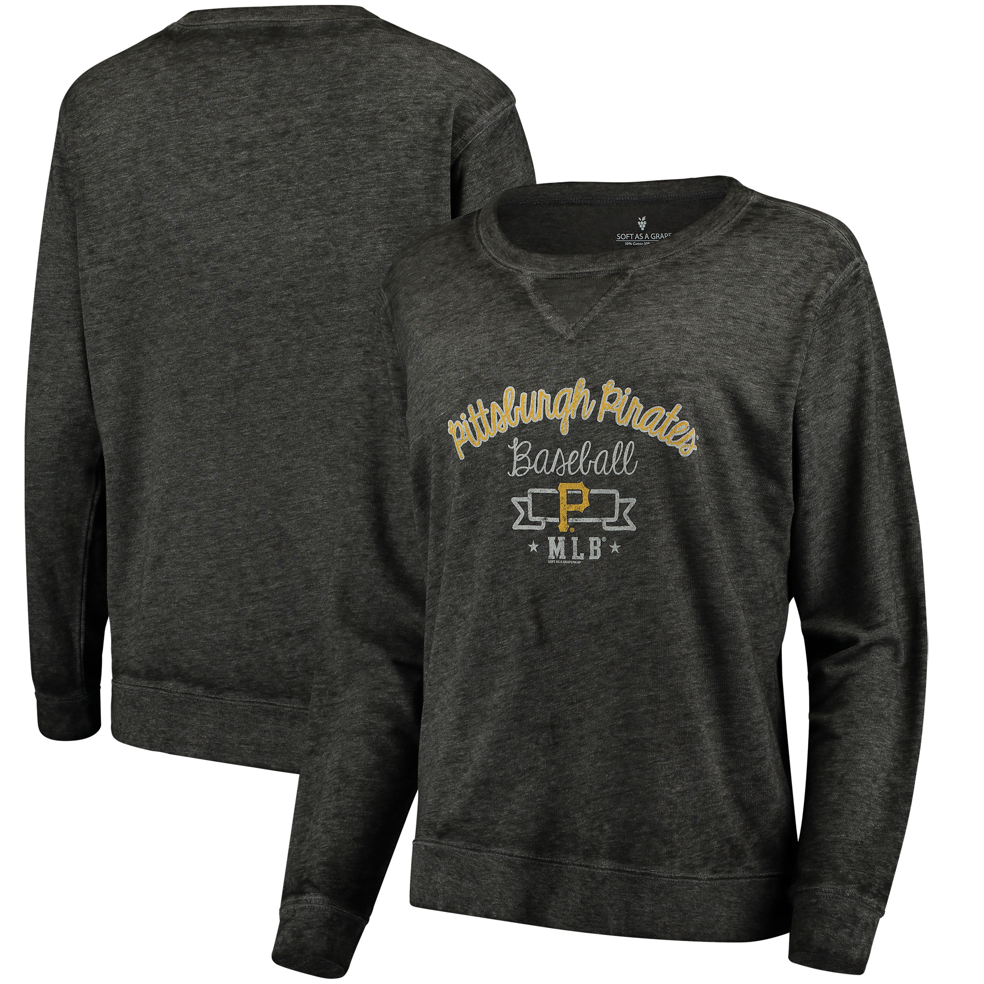 Pittsburgh Pirates Soft as a Grape Women's Home Run Swing Sweatshirt - Black