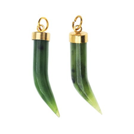 China Jade Gemstone, Curved Horn Pendant 7.5x36.5mm, 2 Pieces, (Gem Curve)