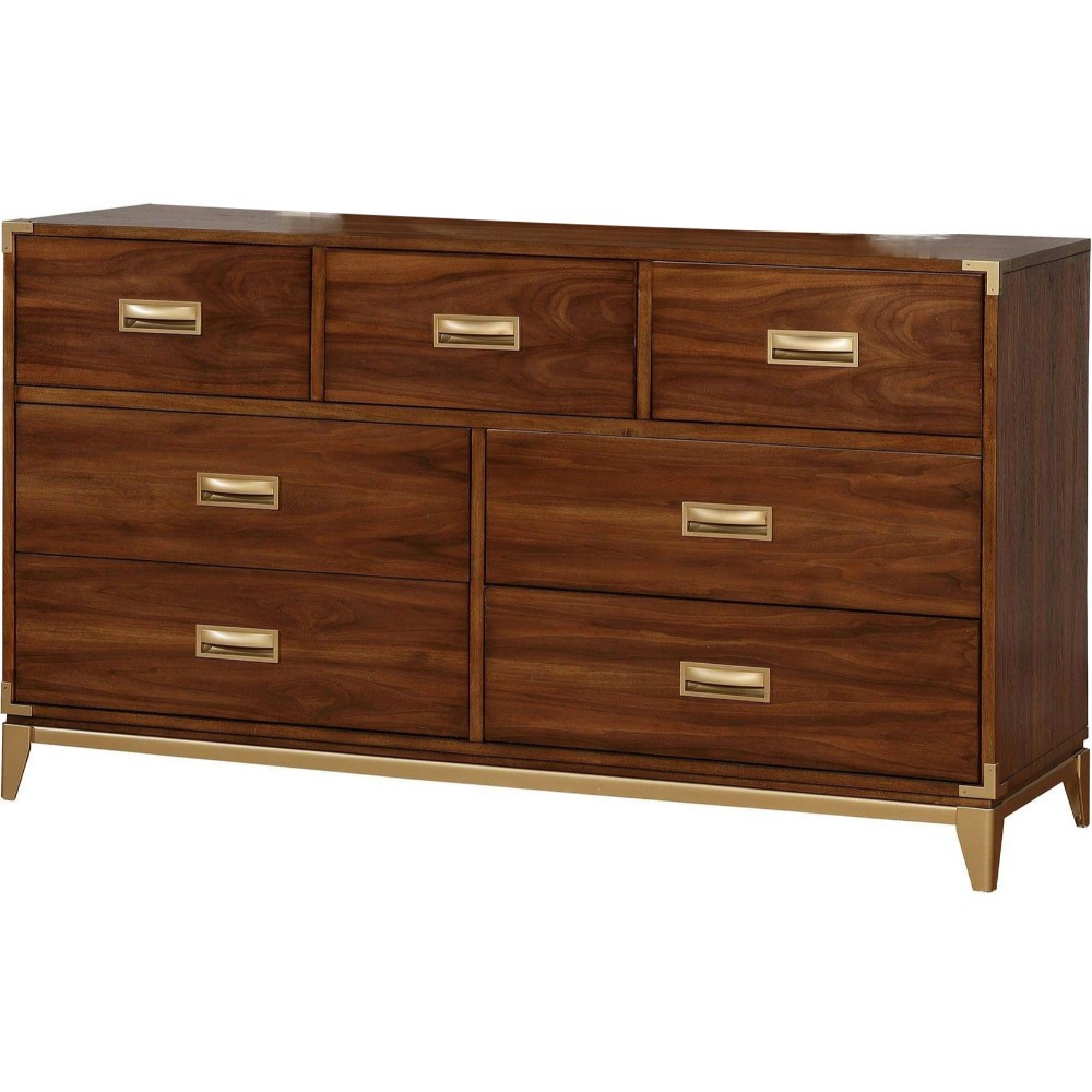 Wooden Dresser With 7 Drawers, Brown