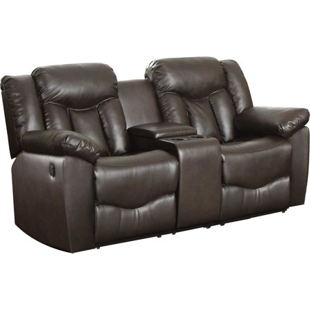 Leonel Signature, James Bonded Leather Motion Loveseat & Console, Brown