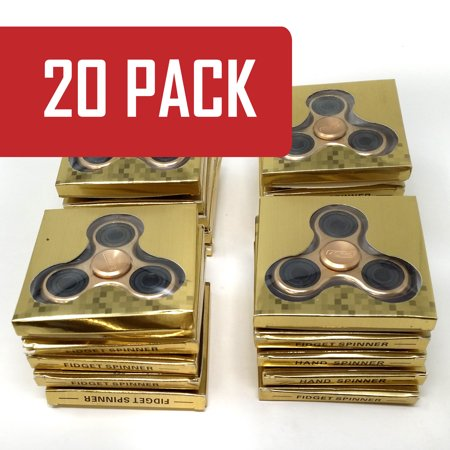 20 Pack Alloy Gold 360 Spinner Focus Fidget Toy Tri-Spinner Focus Toy for Kids & Adults