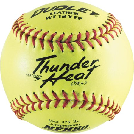 Dudley 43-147 NFHS Thunder Heat Leather 12-Inch Yellow Fast Pitch Softball, .47/375-Pounds, Red Stitch(Pack of 12)