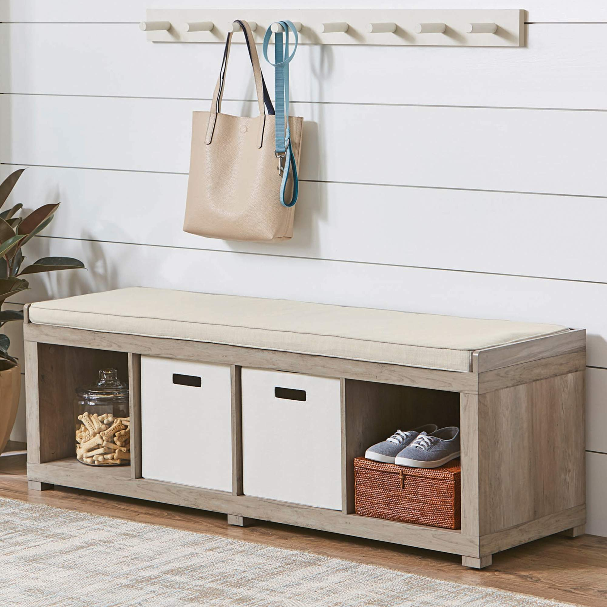 Better Homes and Gardens 4-Cube Organizer Storage Bench, Multiple Finishes