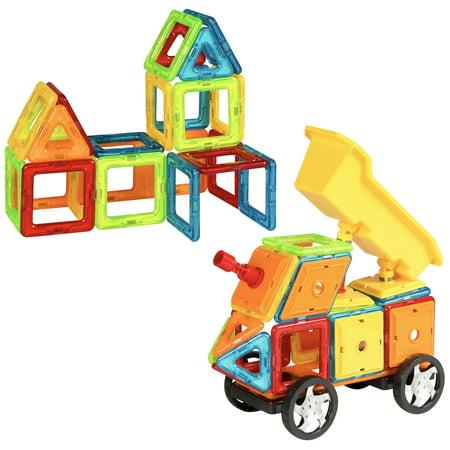Best Choice Products Kids 75-Piece Multi Colors Magnetic Blocks Tiles Educational STEM Toy Dump Truck Building Set