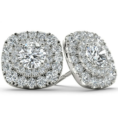 1 Carat T.W. Diamond 10kt White Gold Double-Halo Stud Earrings