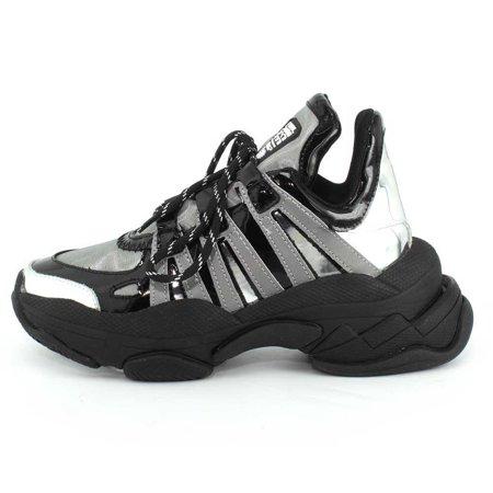 Designer Platform - Jeffrey Campbell Womens WiFi Silver Multi Black Platform Sole Designer Sneaker (9.5)