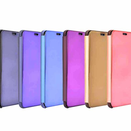 Newest Electroplated Smart Mirror Stand Case Mobile Phone Shell purple - image 2 de 6