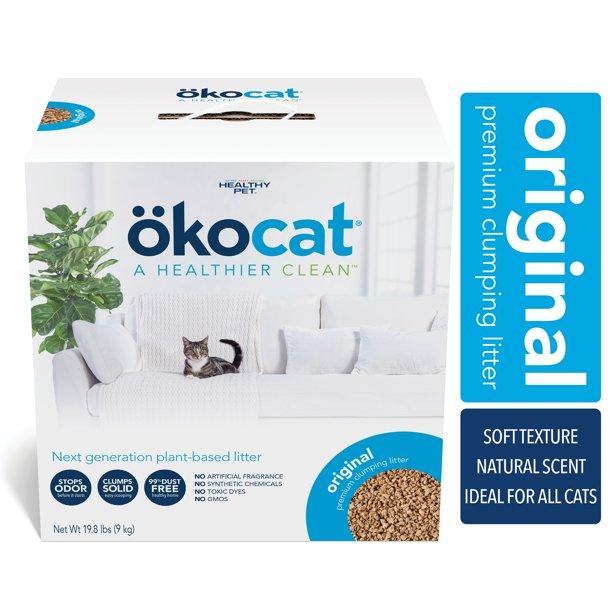 Okocat Premium Original Clumping Natural Wood Cat Litter, Dust Free, 19.8  lbs - Walmart.com - Walmart.com