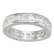 Sterling Silver Princess-cut Cubic Zirconia Eternity Band Size 10