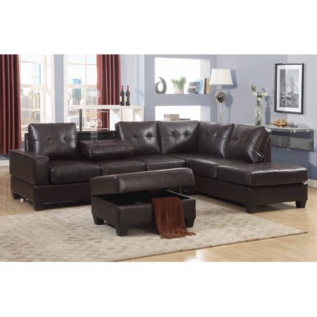 Emily 3 Piece Faux Leather Reversal Sectional Sofa Set