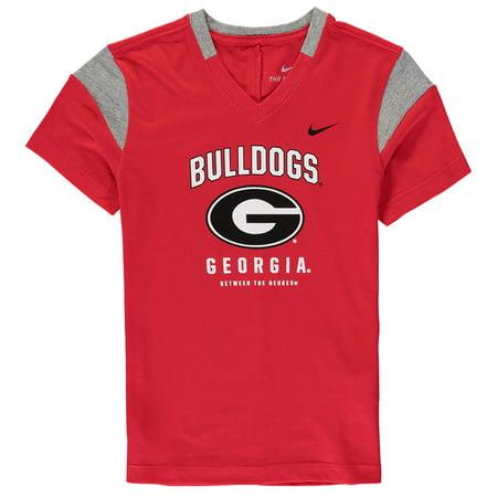 Georgia Bulldogs Nike Girls Youth Fan V-Neck T-Shirt - Red (Nike Girls Clothing)