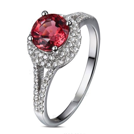 1 Carat Round cut Red Ruby and Diamond Halo Engagement Ring in White Gold  for Women - Walmart.com 2a4049162