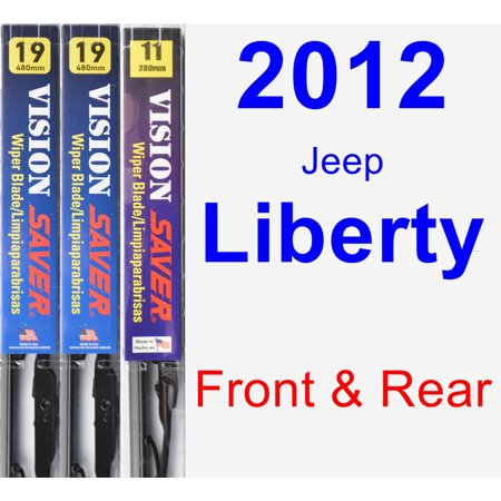 2012 Jeep Liberty Wiper Blade Set/Kit (Front & Rear) (3 Blades) - Vision (2012 Jeep Patriot Rear Wiper Blade Size)