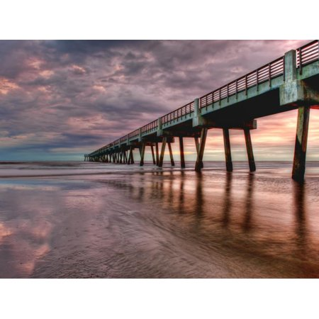 Jacksonville, Fl: Sunrise Colors the Skies at the Pier Print Wall Art By Brad Beck ()