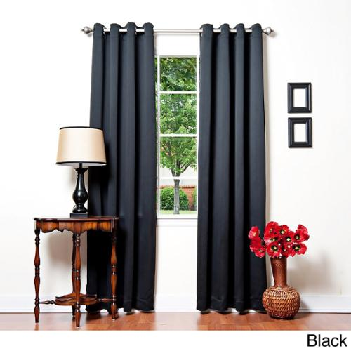 Aurora Home Solid Grommet Top Thermal Insulated 108 Inch Blackout Curtain  Panel Pair Black