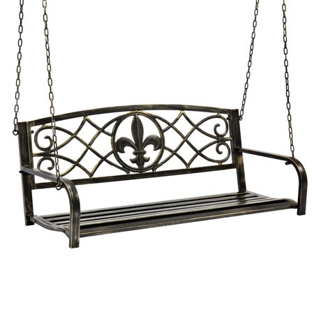English Garden Swing (Best Choice Products Outdoor Furniture Metal Fleur-De-Lis Hanging Swing Bench w/ Weather-Resistant Steel for Backyard, Patio, Porch, Garden - Bronze)