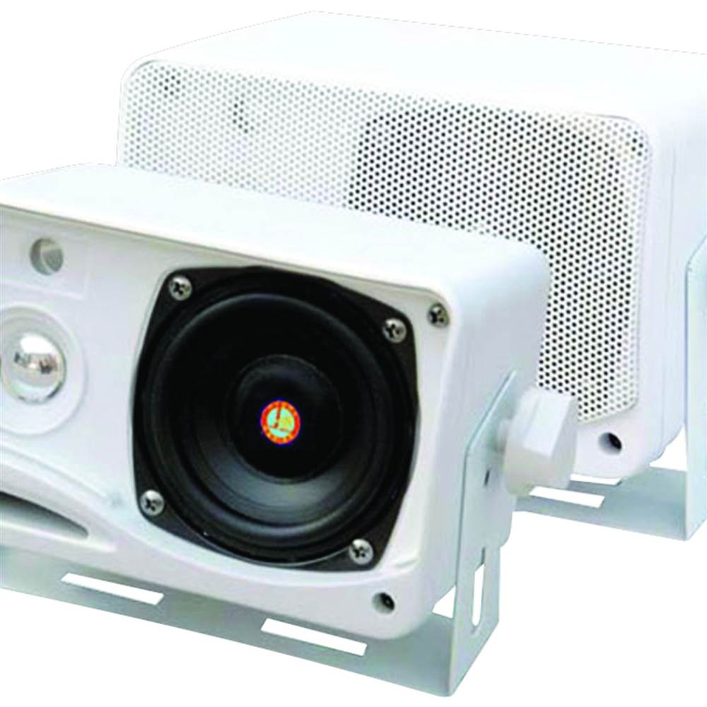 "3.5"", 200 W 3-Way Weatherproof Mini-Box Speaker System -White"