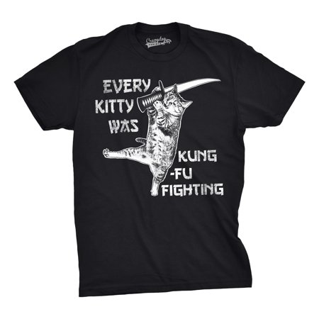 Mens Every Kitty Was Kung Fu Fighting Funny Kitten Cat Sword Music T shirt Sword S/s Tee