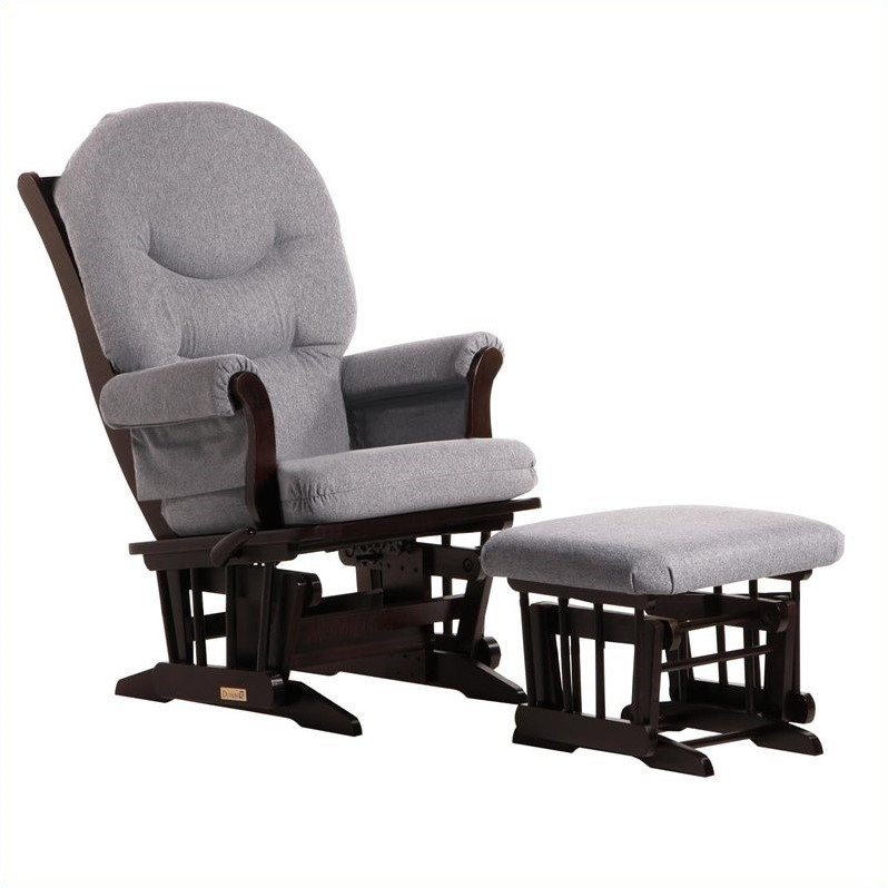 ULTRAMOTION by Dutailier Sleigh GliderReclinerMultipostion and Ottoman Set in Espresso and Dark Grey