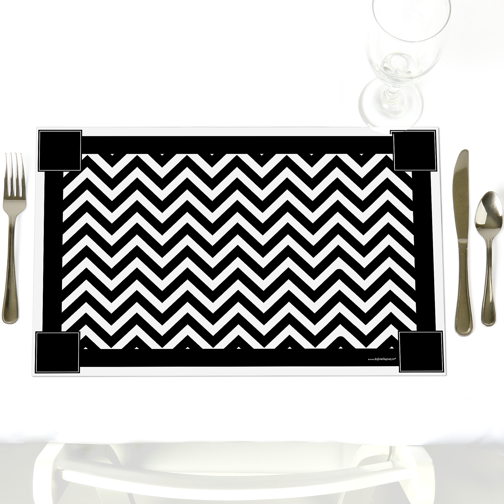 Chevron Black and White - Party Table Decorations - Baby Shower or Birthday Party Placemats - Set of 12