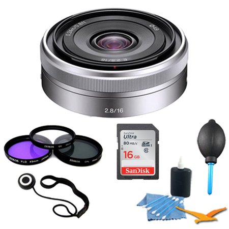 Sony SEL16F28 - 16mm f/2.8 Wide-Angle Lens for NEX Series Cameras Essentials Kit. Kit Includes Lens, Filter Kit, 16GB Ultra SDHC Memory Card, 3 Pcs. Lens Cleaning Kit, Lens Cap