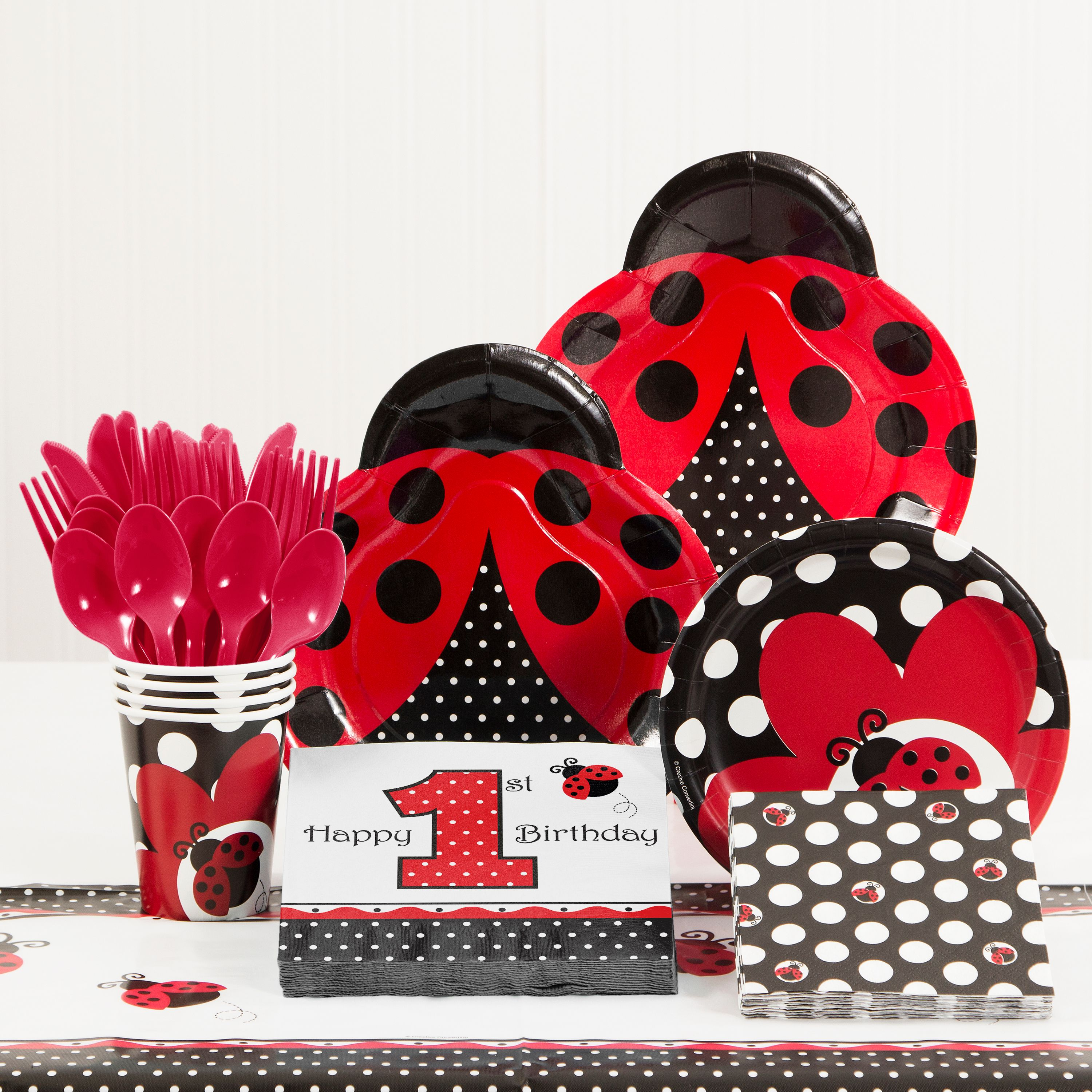 Ladybug Fancy 1st Birthday Party Supplies Kit