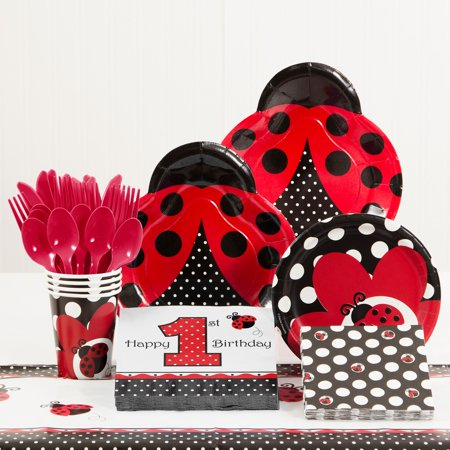 Ladybug Fancy 1st Birthday Party Supplies Kit - Lady Bug Party