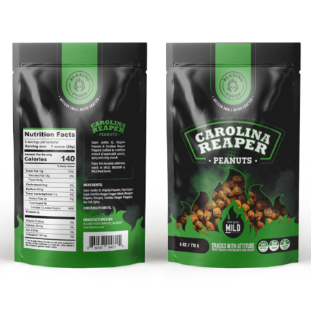 Jumbo Virginia Peanuts (Carolina Reaper Peanuts MILD - Super Jumbo Peanuts fused with the world's hottest pepper crunchy, sweet, intense and insanely addictive - A Perfect gift for spicy food and hot snack)