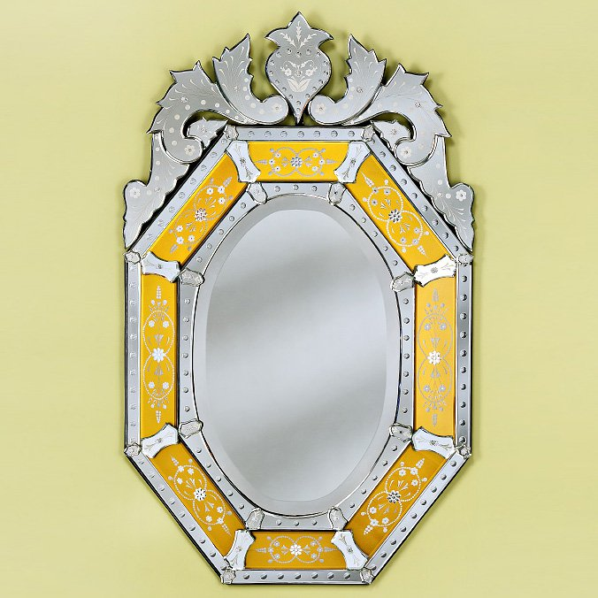 Octagon Gold Venetian Arched Wall Mirror - 29W x 48H in.