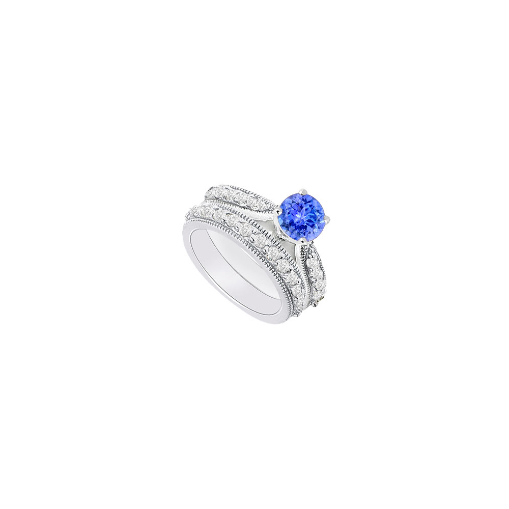 14K White Gold Created Tanzanite and Cubic Zirconia Engagement Ring with Wedding Band Set 1.15 C - image 2 of 2