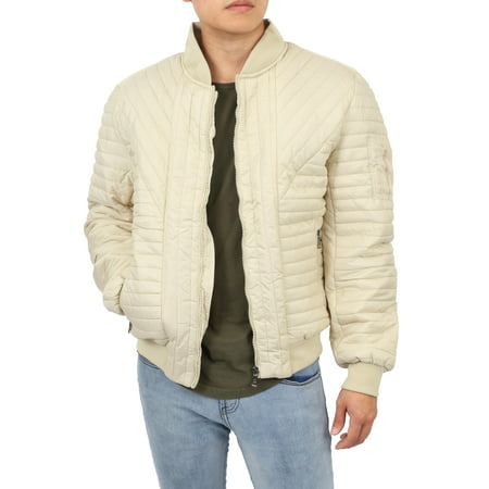 Mens Padded Jackets Quilted Puffer Faux PU Leather Biker - Mens Biker Jacket