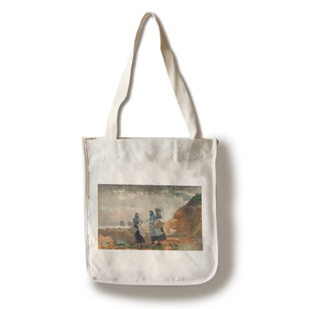 Three Fisher Girls, Tynemouth - Masterpiece Classic - Artist: Winslow Homer c. 1881 (100% Cotton Tote Bag - Reusable)