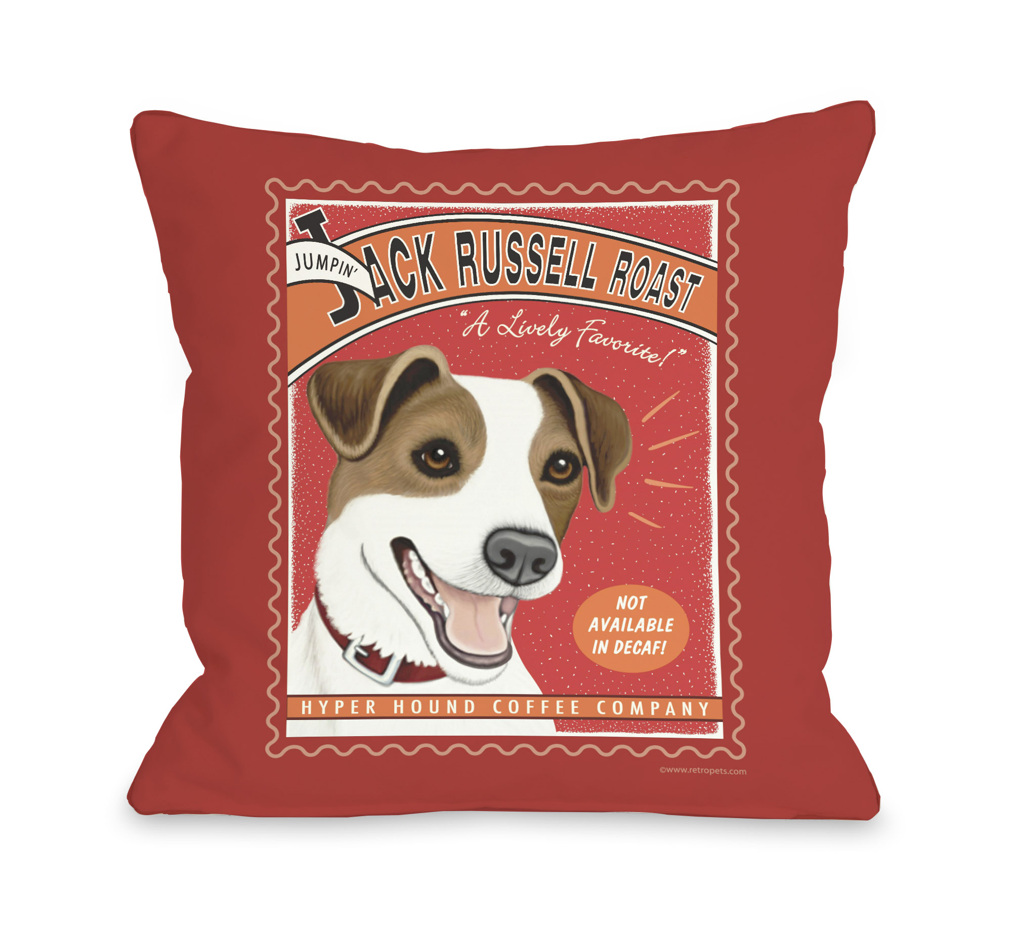 Jack Russell Roast 16x16 Pillow by Retro Pets