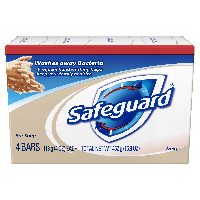 Safeguard Deodorant Bar Soap, Beige, 4 oz, 4 count