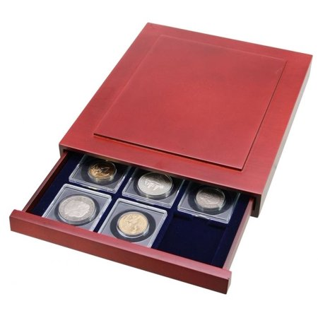 Coin Holder Case-Nova Exquisite Drawer w/12 Compartments For 2x2 Flips w cutout