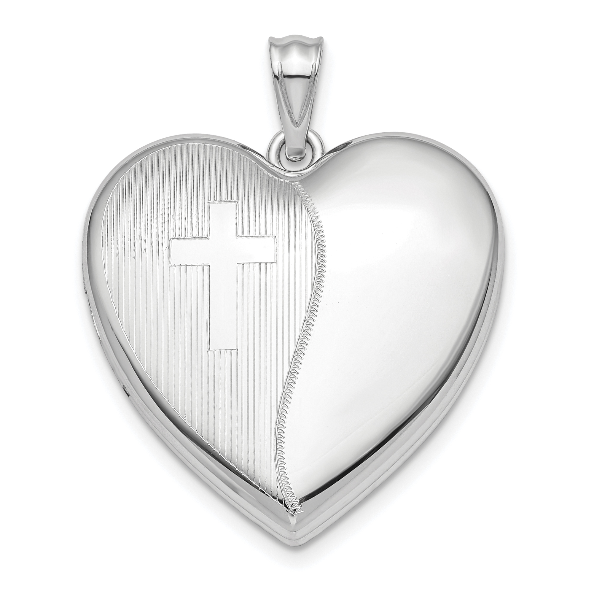 925 Sterling Silver 24mm Cross Religious Design Ash Holder Heart Lock Necklace Pendant Charm Locket Fine Jewelry Gifts For Women For Her - image 4 de 4